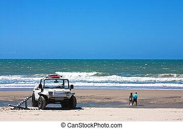 buggy tour and prainha beach near fortaleza in ceara state...
