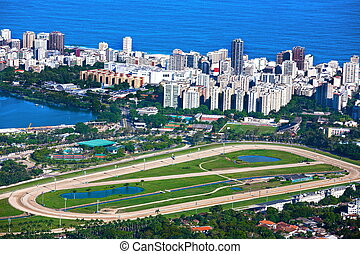 Rodrigo de Freitas Lagoon - aerial view of the race track of...