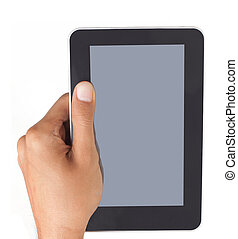 hand holding a touchpad tablet pc, isolated on white