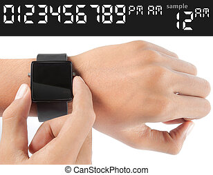 gesture of man hand looking into the watch. just select for...