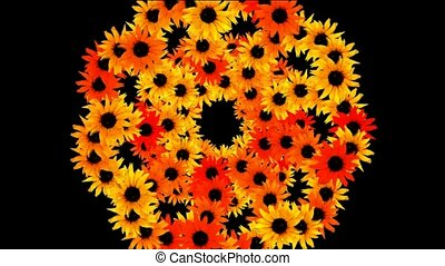 sunflower wreath as wedding background,disco neon flower...