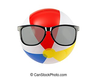 Summer Time - A beach ball and sunglasses isolated against a...