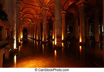 The Basilica Cistern turkish Yerebatan Sarnici in Istanbul,...