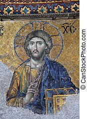 Ancient Jesus Christus mosaic inside of the Hagia Sophia...