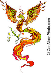 Phoenix vector illustartion in russian tradition style