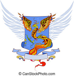 Phoenix vector geraldic illustartion in russian tradition...