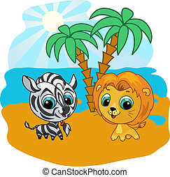 Vector cartoon illustration of a cute lion and zebra