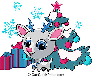 Christmas deer vector illustration with tree and snowflake