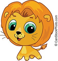 Vector cartoon illustration of a cute lion