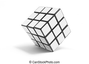 Puzzle Cube on White Background