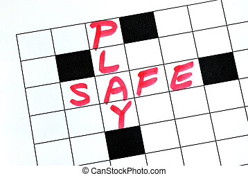 Play Safe text in crossword puzzle