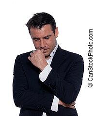 business man thinking pensive portrait - studio portrait on...