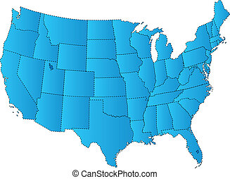 USA Map Blue - Map of USA - fifty states