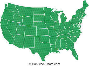 USA Map Green - Map of USA - fifty states