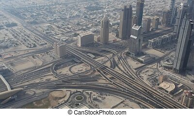 Highway junction in Dubai - Aerial view of a highway...