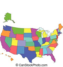 USA Map - Map of USA - fifty states with Hawaii and Alaska