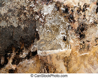 Grungy wall. - Grungy wall with shabby wallpaper closeup...