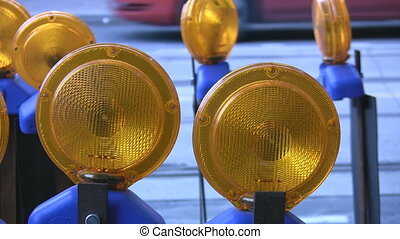 Roadwork lights. - Construction lights at the side of the...