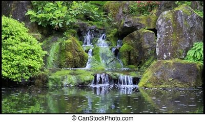 Waterfall in Japanese Garden - Waterfall in Portland...