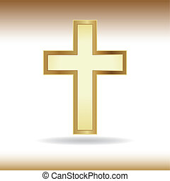 Golden cross. Symbol of the Christian faith.
