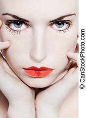 young girl seductress - young beautiful caucasian woman...