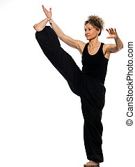woman tai chi - mature woman praticing tai chi chuan in...