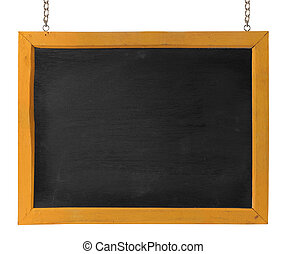 empty blackboard with wooden frame and chain. isolated over...