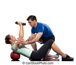 Worrkout Posture - couple exercising workout on white...