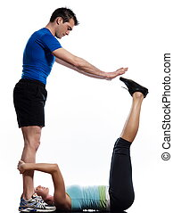 Worrkout Posture - couple,man and woman doing abdominals...
