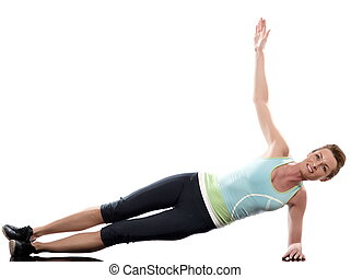 woman on Abdominals workout posture on white backgroun