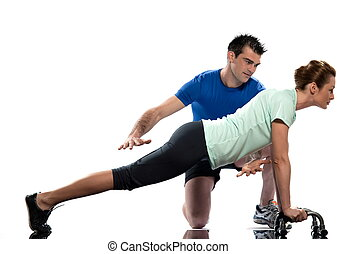 Worrkout Posture - couple, man and woman doing push up...