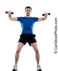 man weight training Worrkout Posture on white isolated...