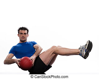 Worrkout Posture - man doing ball abdominals workout posture...
