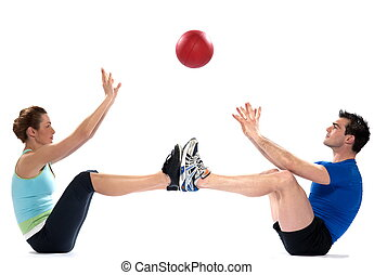 Worrkout Posture - couple, man and woman doing abdominals...