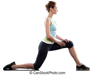 stretching workout posture by a woman on studio white...