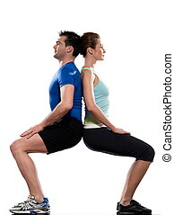 couple doing workout on white isolated backgroun