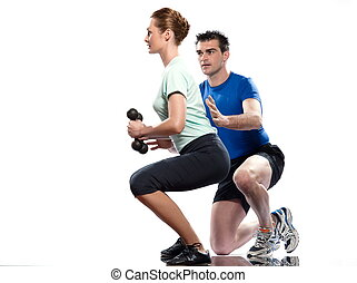 Worrkout Posture - couple man and woman exercising workout...