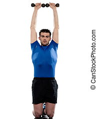 man doing workout with weight on white isolated backgroun