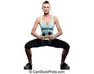 Worrkout Posture - woman exercising workout on white...