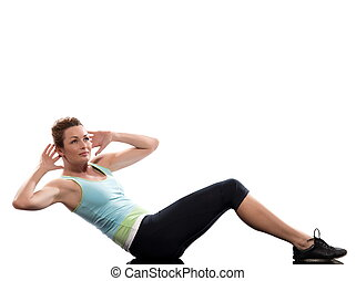 woman on Abdominals rotation workout posture on white...