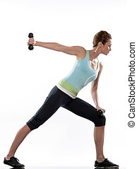 man doing workout Lunges Triceps Extension on white isolated...