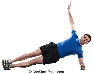 man on Abdominals workout posture on white backgroun