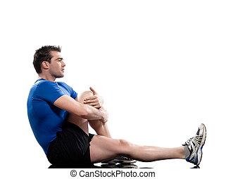 man Worrkout Posture Yoga Marichyasana stretching workout...