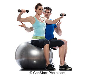 man woman Worrkout Posture weight training - couple, man and...