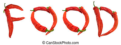 FOOD text composed of chili peppers Isolated on white...