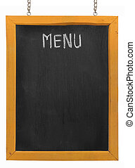 Restaurant menu board on blackboard. isolated over white...