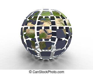 Recycled planet earth - 3d illustration of planet earth...