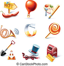 Vector cartoon style icon set P11 - Set of highly detailed...