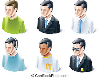 Set of people icons - Set of detailed icons representing...