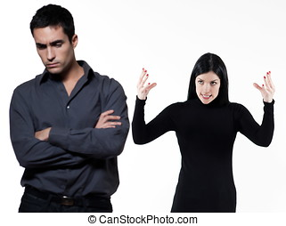 couple relationship difficulties - young couple on white...